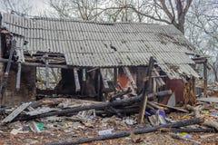 Fraude et incendie criminel d'assurance Image stock