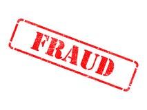 Fraude - inscripción en sello de goma rojo. Fotografía de archivo