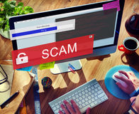Fraude que corta o conceito de Scam Phising do Spam fotografia de stock royalty free