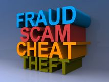 Fraude, Scam, tramposo, gráfico del hurto stock de ilustración