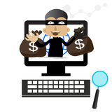 The fraudulent computer , internet thief  graphics.  Stock Image