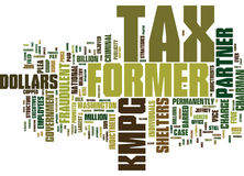 Fraudulent Tax Shelters Kmpg Goes Down Hard Text Background Word Cloud Concept Stock Photo