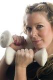 Frauenübung mit dumbells Stockbild