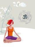 Frauen-übende Yoga-Meditation lizenzfreie abbildung