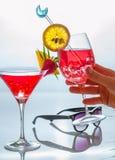 Frauen übergeben das Halten eins von den Cocktailgläsern, die mit Tropen decprated sind lizenzfreie stockfotos