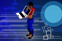 Frauen 3d, die Laptopillustration verwenden Lizenzfreies Stockfoto