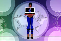 Frauen 3d, die Laptopillustration verwenden Stockfotos