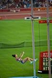 Frauen-Athlet bricht Weltrekord Lizenzfreie Stockfotos