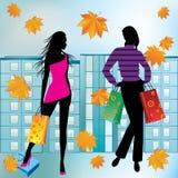 Frauen auf dem Einkaufen. Stockfoto