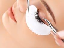Frauen-Auge mit den langen Wimpern. Wimper-Erweiterung Lizenzfreie Stockfotos