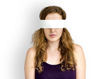 Frauen-Auge umfaßtes blindes verbotenes verlorenes Konzept Stockfotografie