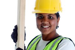 Frauen-Bauarbeiter lizenzfreies stockbild