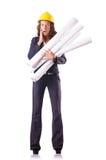 Frauen-Bauarbeiter mit Schutzhelm Stockfotos