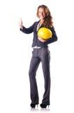 Frauen-Bauarbeiter mit Schutzhelm Stockfotografie