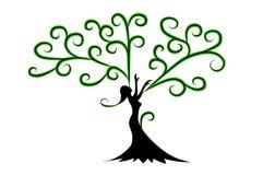 Frauen-Baum mit den Händen stock abbildung