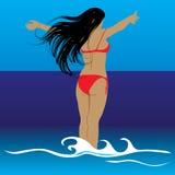 Frauen betrachten Meer. Vektor. stockfoto