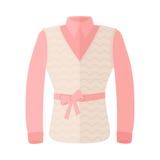 Frauen-Bluse mit warmem ärmellosem und Bogen auf Gurt stock abbildung