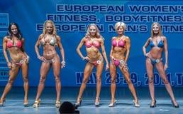 Frauen Bodyfitness-Meisterschaft in Tyumen Russland Stockfotografie