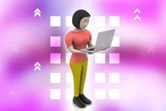 Frauen 3d, die Laptop zeigen Stockfoto