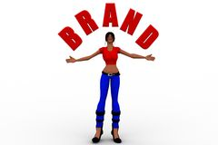 Frauen 3d, die Markennamen halten Stockfoto