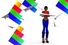 Frauen 3d fliegen Papierflugzeugillustration Stockbild
