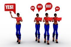 Frauen 3d ja oder keine Illustration Lizenzfreie Stockfotos