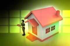 Frauen 3d mit Haus und Schlüssel Stockbild
