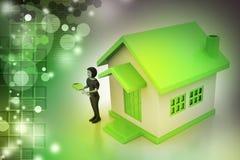 Frauen 3d mit Haus und Schlüssel Lizenzfreie Stockfotos