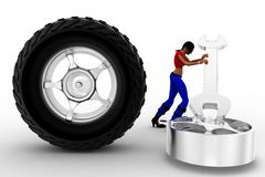 Frauen 3d Reifen-Reparatur Stockfoto