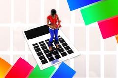 Frauen 3d Taschenrechner-Illustration Stockfotografie
