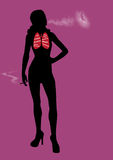 Frauen-Dame Smoker Bad für Gesundheitsillustration Stockfotografie