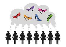 Frauen denken an Schuhmode stock abbildung