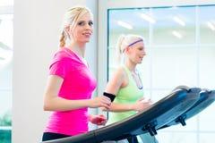 Frauen in der Turnhalle, die Sport auf Tretmühle tut Stockbild