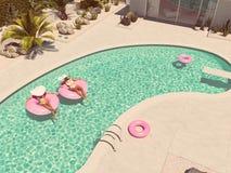 Frauen, die auf Floss in einem Pool schwimmen Wiedergabe 3d stock abbildung