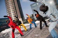 Frauen, die in der Winterkälte, Vilnius, Europa trainieren Stockfotografie