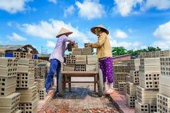 Frauen, die in der Ziegelsteinfabrik arbeiten Lizenzfreie Stockfotografie