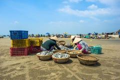 Frauen, die Fische verkaufen stockfotos