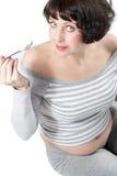 Frauen, die gesunde Lebensstiljoghurtnahrung essen Lizenzfreie Stockbilder