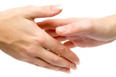 Frauen, die Hände rütteln Stockbild