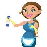 Frauen, die Hausreinigungsdienstleistung erbringen Stockbilder