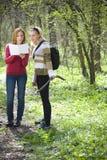 Frauen, die Karte überprüfen stockbilder