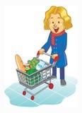Frauen, die Laufkatze am Supermarkt verwenden lizenzfreie abbildung