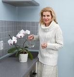 Frauen, die Lebensmittel an der Küche kochen Stockbild