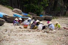 Frauen, die Muscheln mit Fischerbooten im Hintergrund am 7. Februar 2012 in Mui Ne, Vietnam verarbeiten Lizenzfreie Stockfotografie