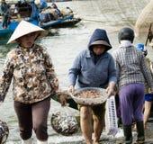 Frauen, die Plastiktaschen mit frischem Fang von Fischen und einem Korb mit Garnelen tragen Lizenzfreie Stockfotos