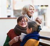 Frauen, die Tee auf Terrasse trinken Stockbild