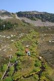 Frauen, die unter alpinen Nebenflüssen wandern Lizenzfreies Stockfoto