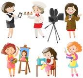Frauen, die verschiedene Arten von Jobs tun Lizenzfreie Stockbilder