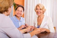 Frauen, die am Versicherungsagenten sich beraten Lizenzfreie Stockbilder