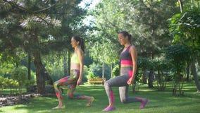 Frauen, die vorwärts vordere eine Beinschritt-Laufleinenübung tun stock video